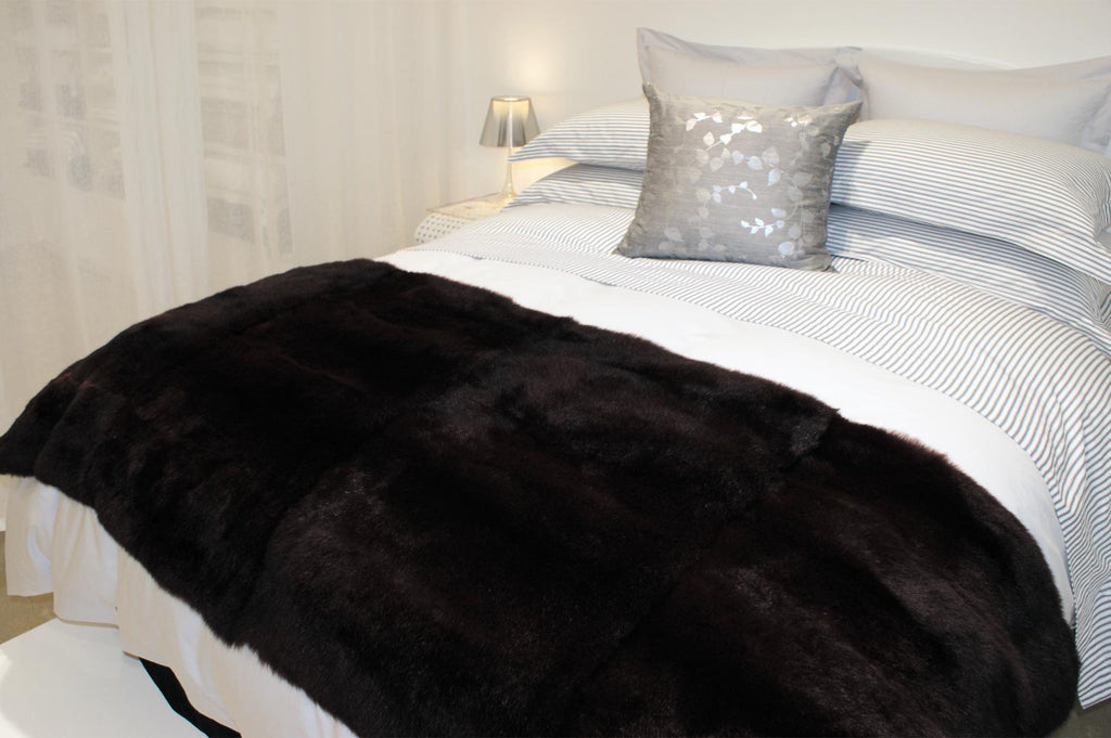 Blackish Brown Possum Fur Throws