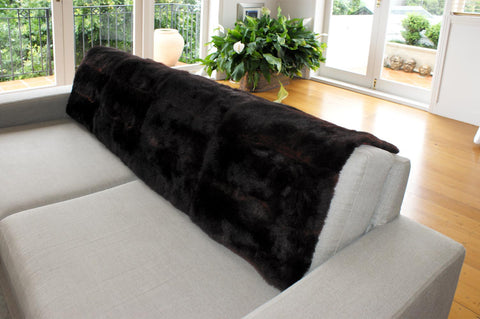 Image of Blackish Dark Brown Possum Fur Bed Footer