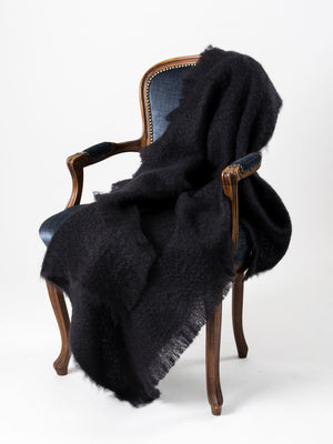 Raven Black Mohair Throw Blanket