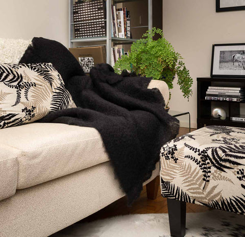 Windermere Raven Black Mohair Chair Throw