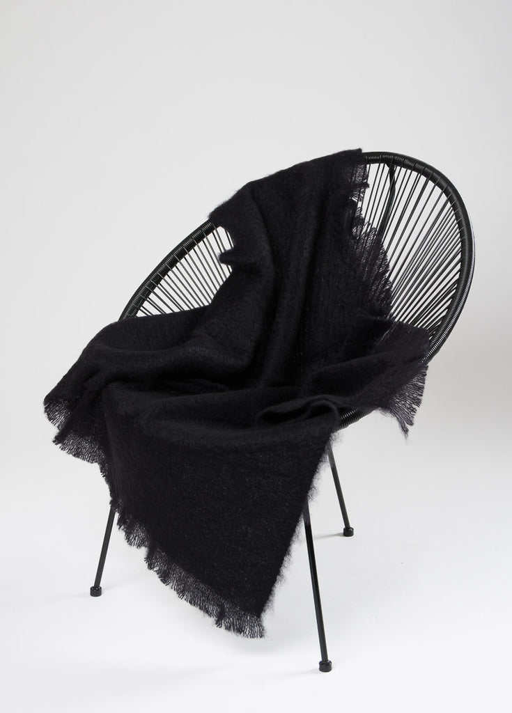 Windermere Raven Black Mohair Throw Blanket