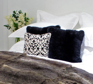 Black Possum Fur Cushion Cover