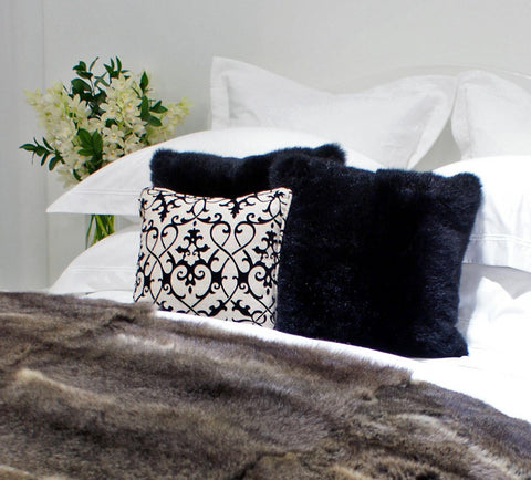 Image of Black Possum Fur Cushion Cover