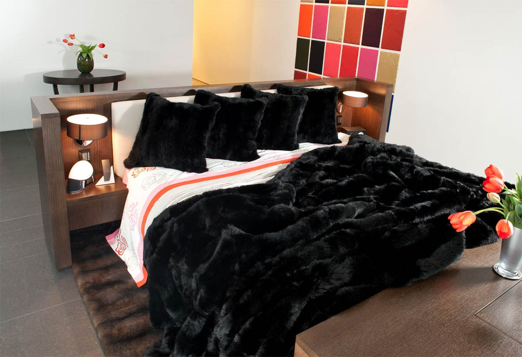 NZ Black Possum Fur Bed Blanket
