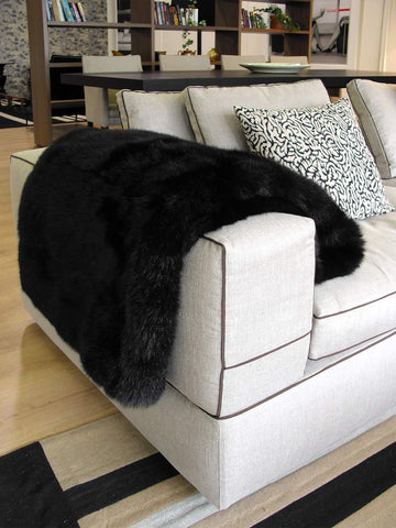 Image of NZ made Black Possum Fur Throw