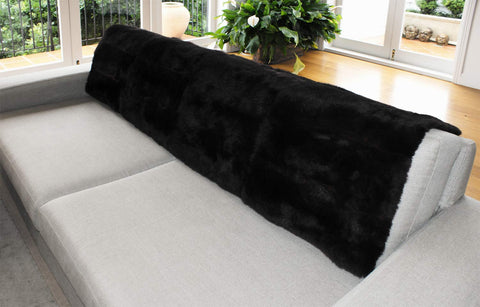 Black Possum Fur Bed Footer Throw
