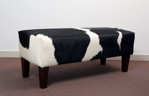 Image of Black & white cowhide bench seat ottoman