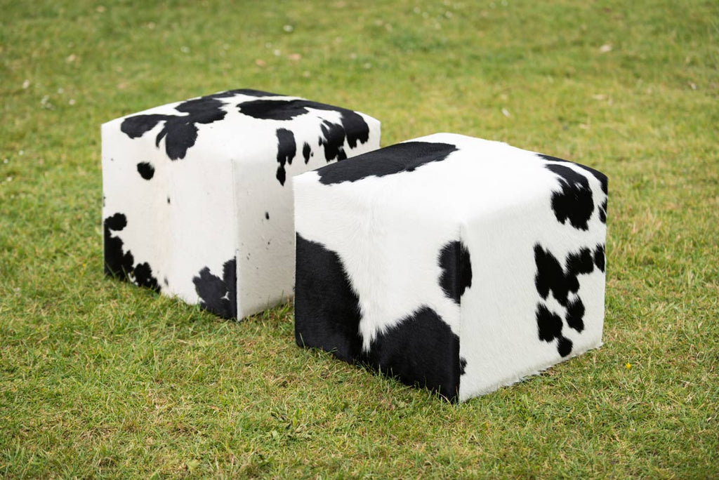 Cowhide Cube #6 with Invisible Button Glides 50x50x40cm