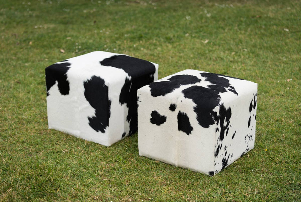 Cowhide Cube #5 with Invisible Button Glides 50x50x40cm