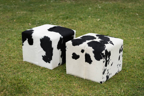 Image of Cowhide Cube #5 with Invisible Button Glides 50x50x40cm
