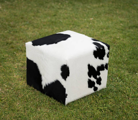 Cowhide Cube #3 with Invisible Button Glides 50x50x40cm