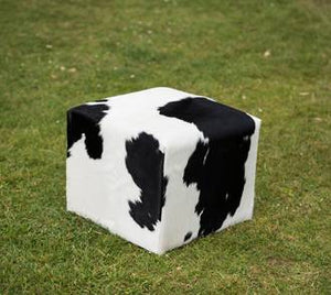 Black & white cow skin cube foot stool
