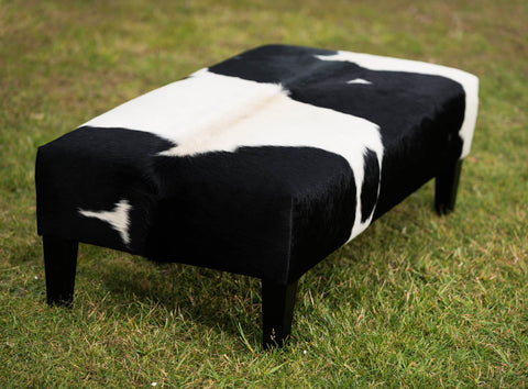 Cowhide Ottoman with Wood Legs 120x60x38cm