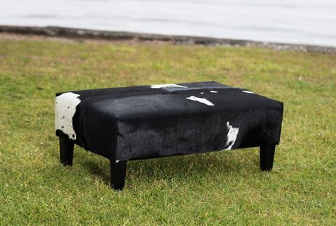Image of Cowhide Ottoman with Wood Legs 100x60x38cm