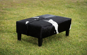 Cowhide Ottoman NZ with Wood Legs 100x60x38cm
