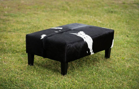 Cowhide Ottoman with Wood Legs 100x60x38cm