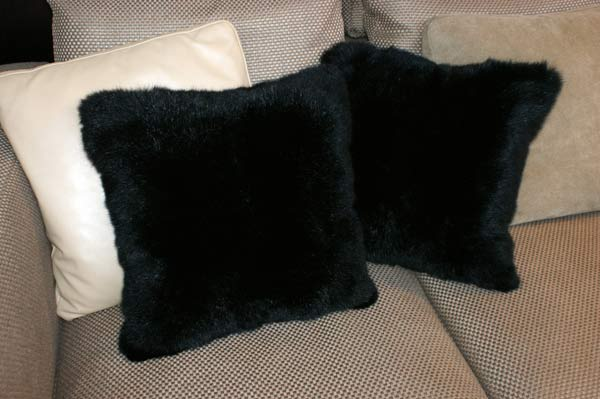 NZ possum fur cushions dyed black