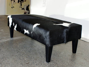 Cowhide Ottoman with Wood Legs 120x60x45cm