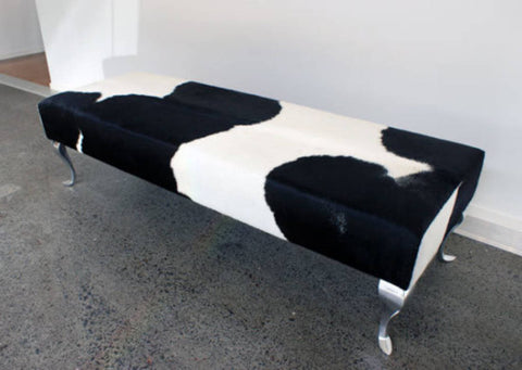 Cowhide Ottoman with Queen Anne Curved Aluminium Legs 160x55x40cm
