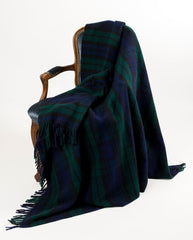 Warwick Shetland Wool Throw Blanket - Blackwatch Forrest