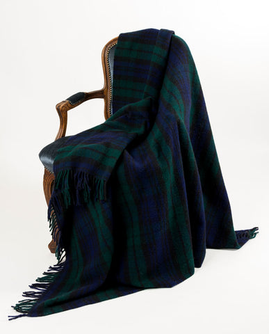 Image of Warwick Shetland Wool Throw Blanket - Blackwatch Forrest
