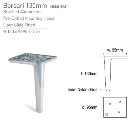 Image of Borsari Aluminium Ottoman Legs 13cm Tall - Gun-Metal Nickel Shiny