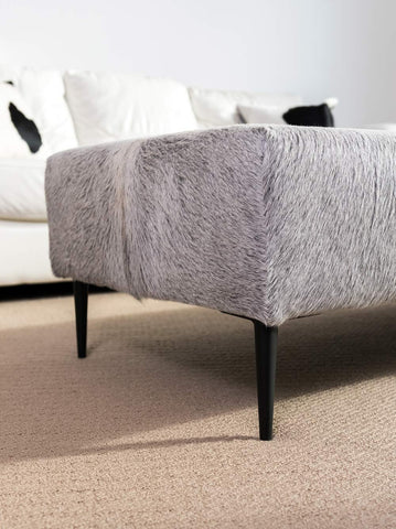 Cowhide Ottoman with Borsari Matte Black Metal Legs