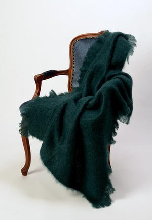 New Zealand Windermere mohair throw Bottle Green