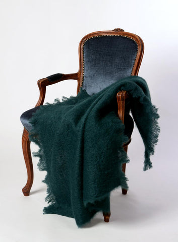 Image of New Zealand Windermere mohair throw Bottle Green