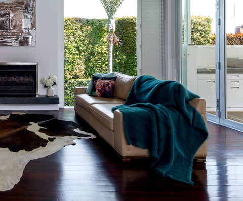 Image of Windermere Bottle Green Mohair Throw Blanket