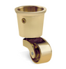 Image of Round Cup & Caster Wheels 35mm - Brass Gold
