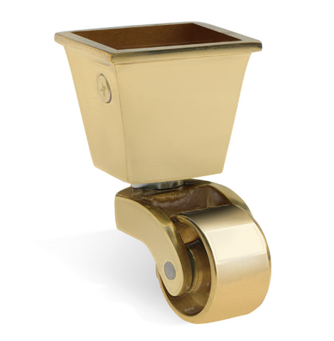 Square Cup & Caster Wheels 32mm - Brass Gold
