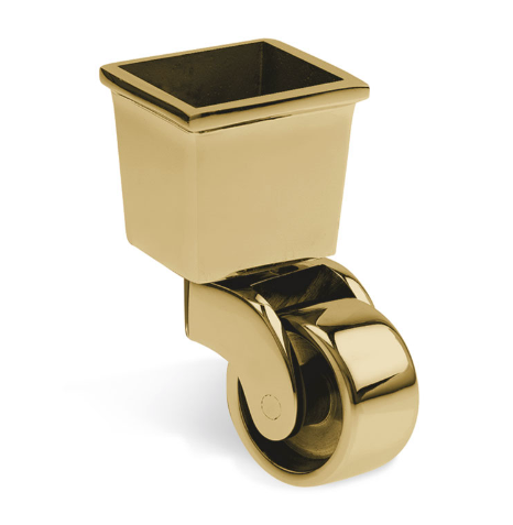 Square Cup & Caster Wheels 37mm - Brass Gold