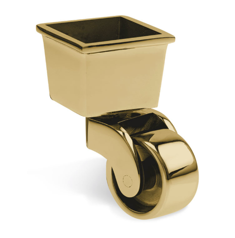 Square Cup & Caster Wheels 45mm - Brass gold