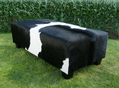 Cowhide Ottoman Deep with Low Wood Legs 120x60x40cm