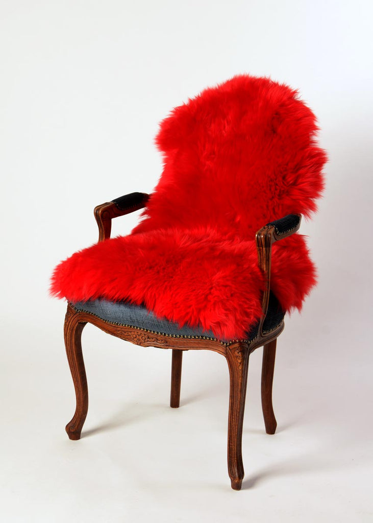Bright Red Dyed Single Sheepskin Rug