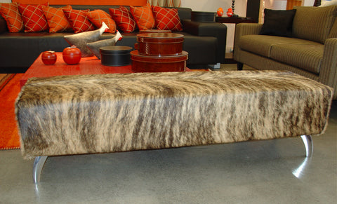 Image of Cowhide Ottoman with Curved Aluminium Legs 135x50x40cm