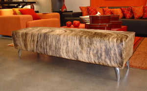 Cowhide Ottoman with Curved Aluminium Legs 135x50x40cm