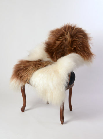 Chestnut brown and white Icelandic sheepskin rug