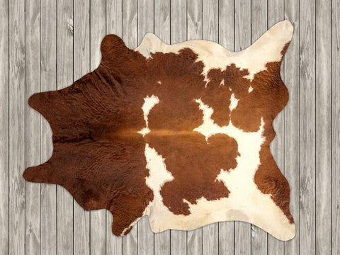 Cowhide rug rich chestnut brown and white