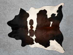 Chocolate Brown White Cowhide Rug