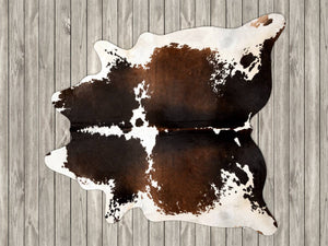 COW3152 Cowhide Rug Chocolate & White 3.90msq