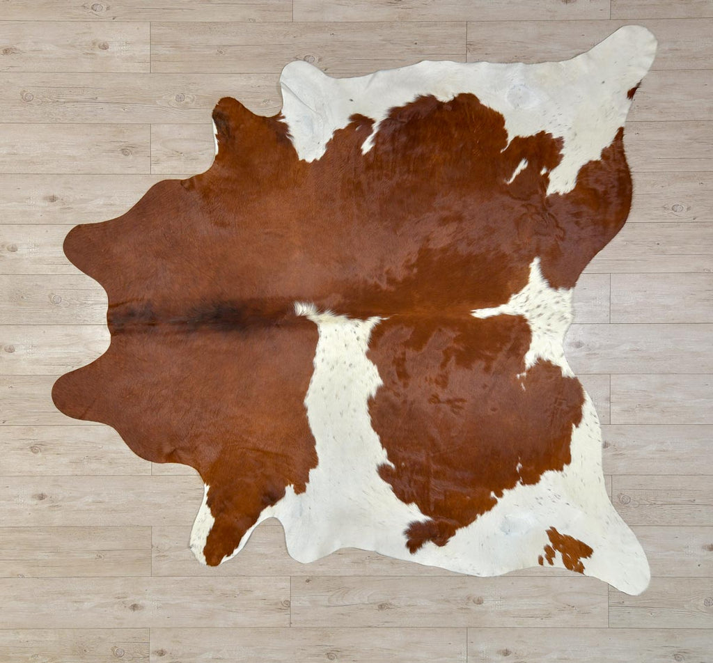 Chestnut brown & white cowhide