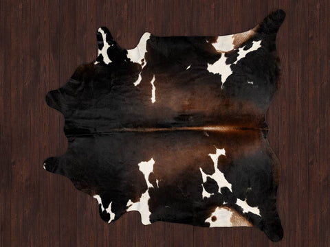 Cowhide Rug Chocolate Brown and White