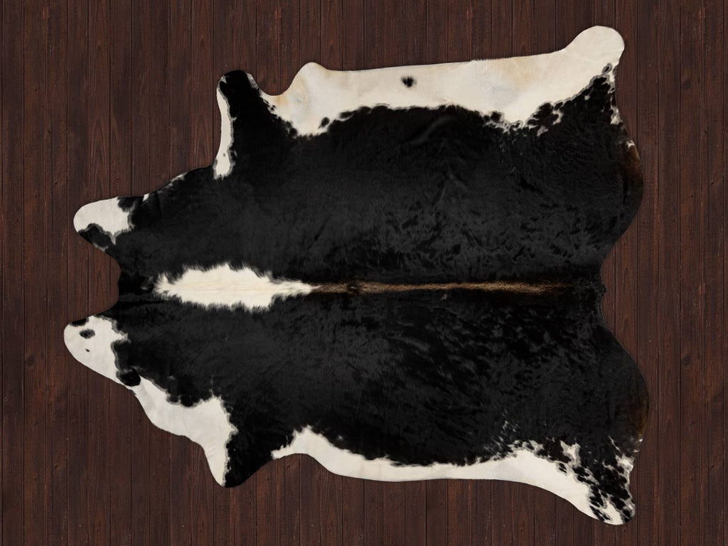 Cowhide Rug Warm Black and White Hereford