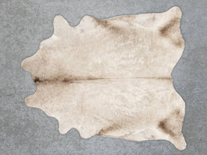 Curly Taupe Beige Cowhide Rug Murray Grey