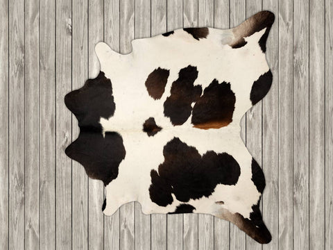 Image of Chocolate & white cowhide rug