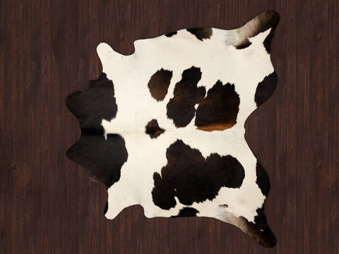 Chocolate & white cowhide rug
