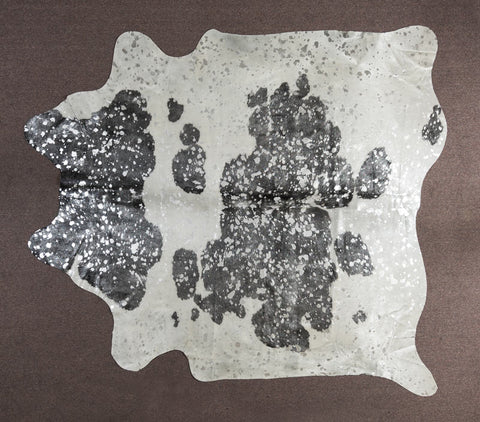 Metallic Silver, Black & White Cowhide Rug