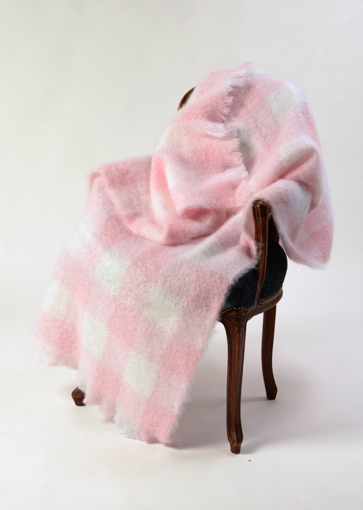 Candy floss pink and white check mohair throw blanket